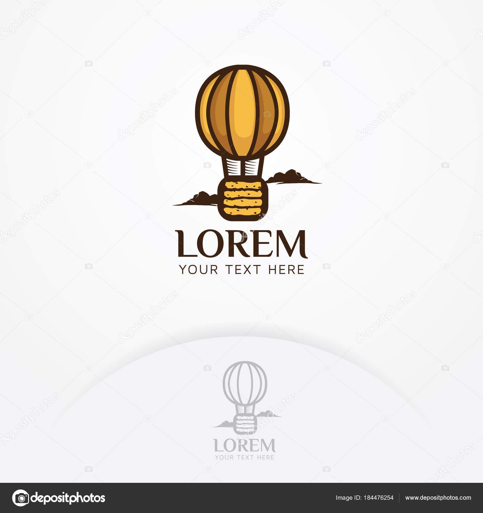 Brot Logo Illustration Des Brot Logo Mit Heißluftballon Fliegen ...