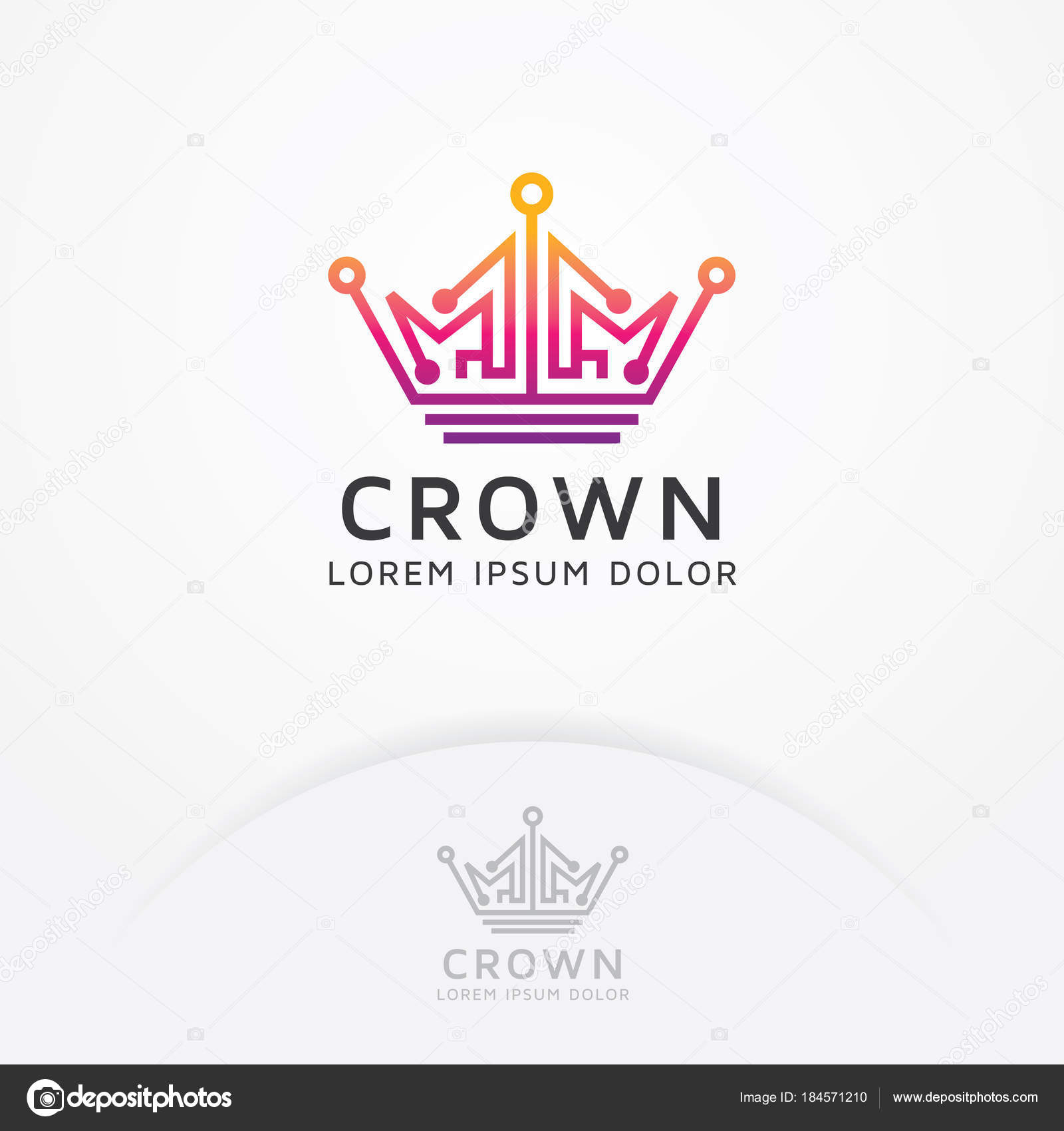 Logotipo Tecnología Corona Vector Corona Estilo Arte Línea Para ...