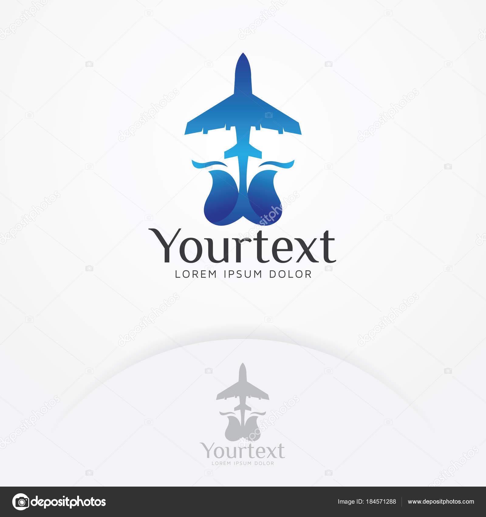 Aire Plano Logo Ilustración Del Avión Con Forma Flor Para — Vector ...