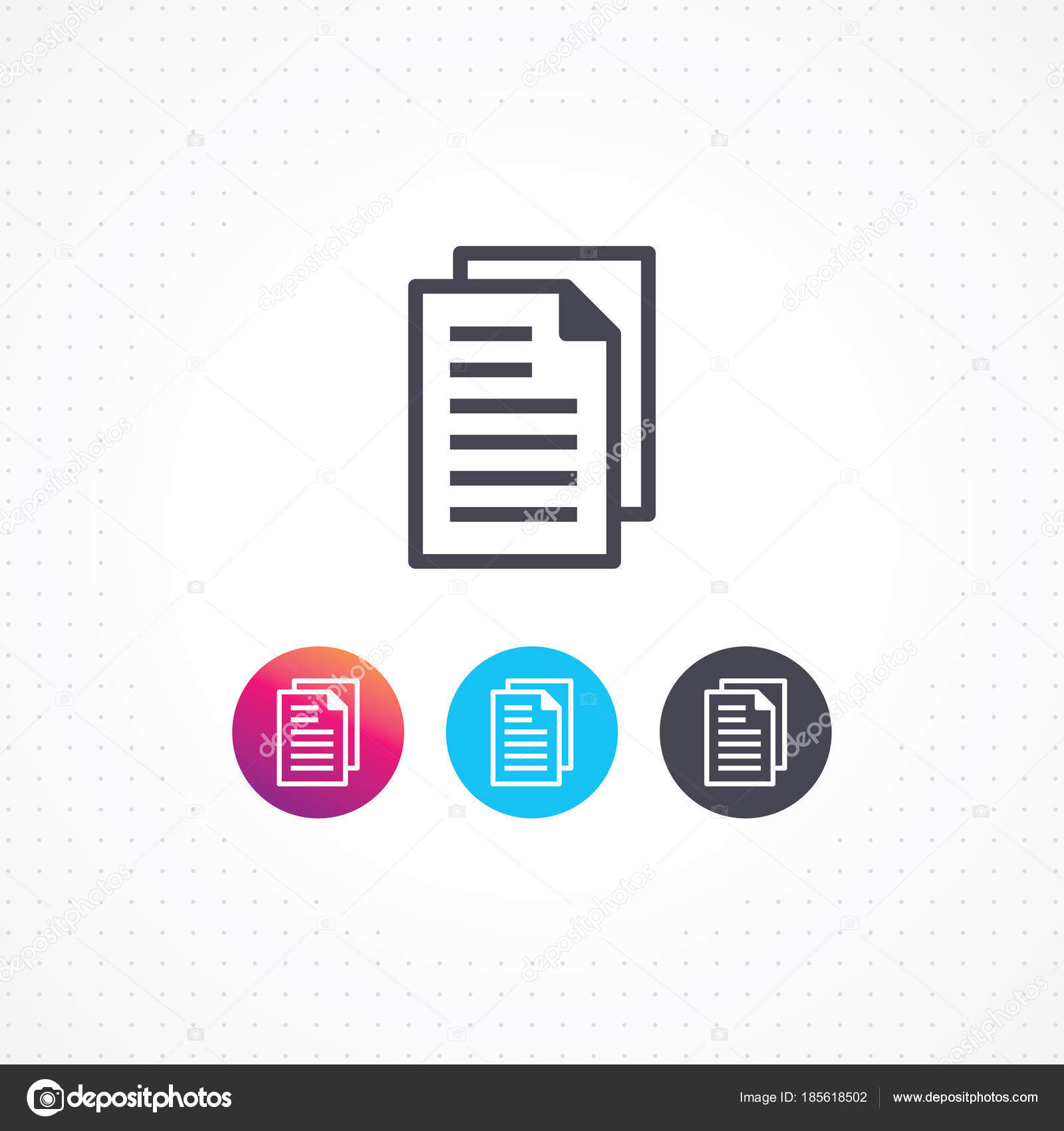 File Icon Modern Flat Line Document Icon Paper Vector Symbol Stock