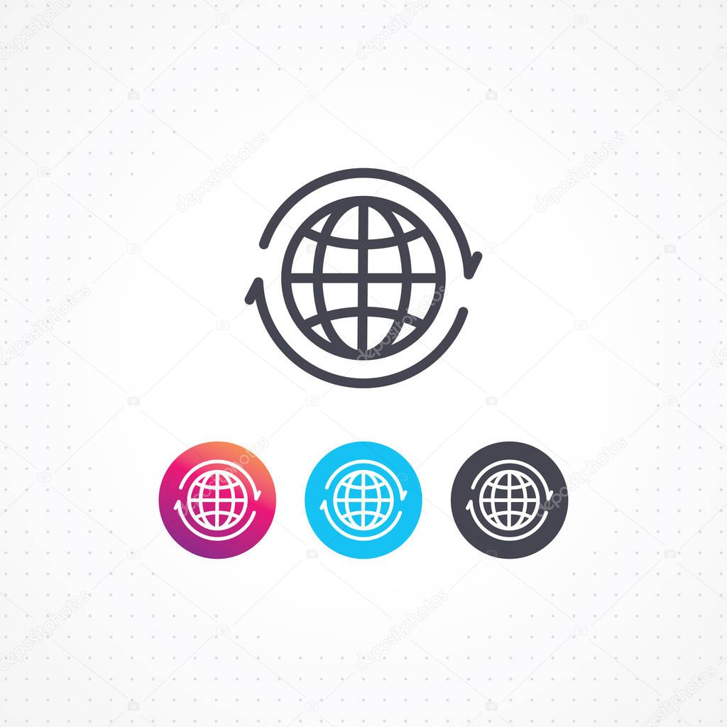 Globe icon. Vector arrows around planet earth. Globe and arrow vector. Vector globe icon of the world. World flat line design