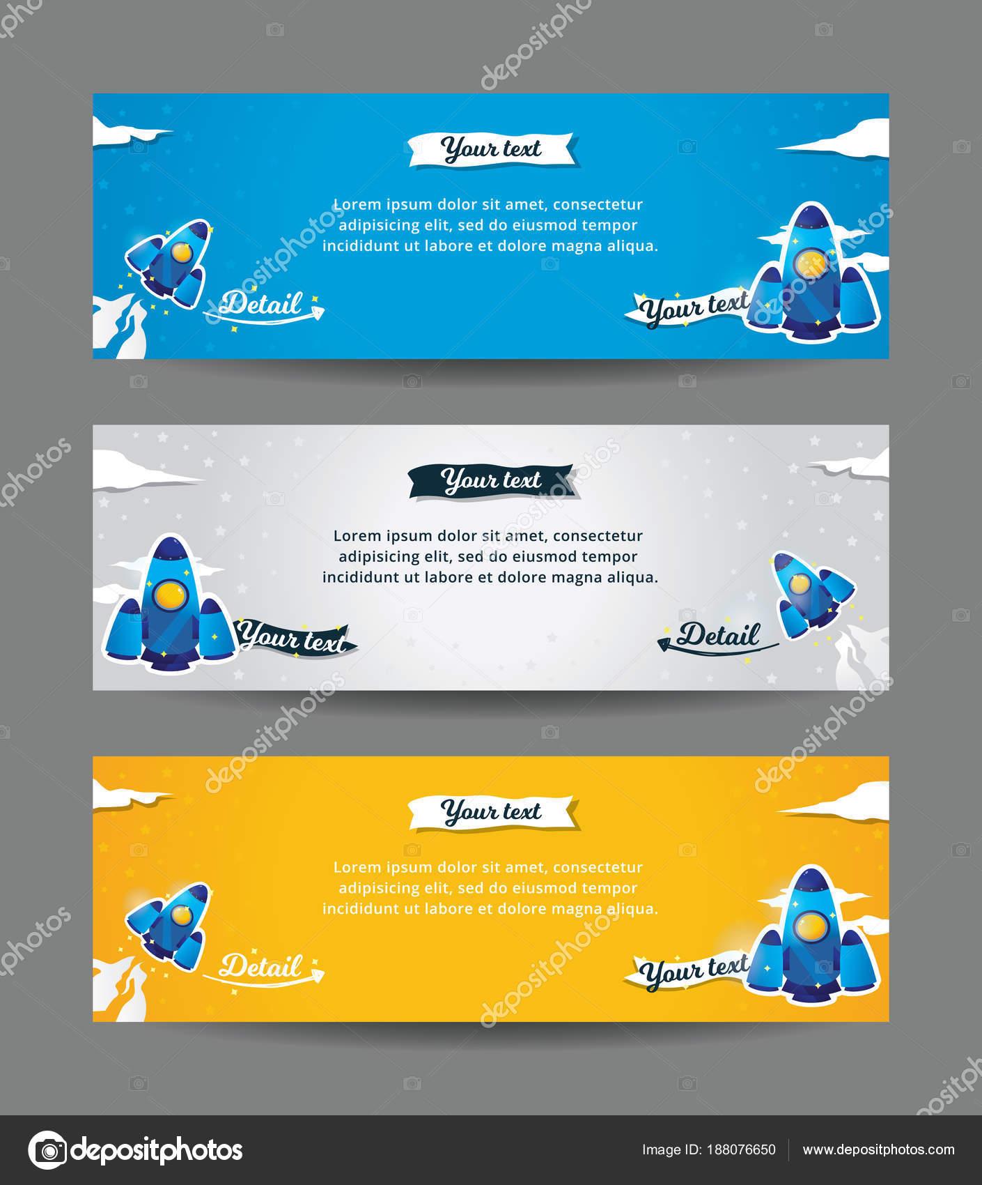 Satz Von Web Banner Vorlagen Horizontalen Raum Banner Mit Raketen ...