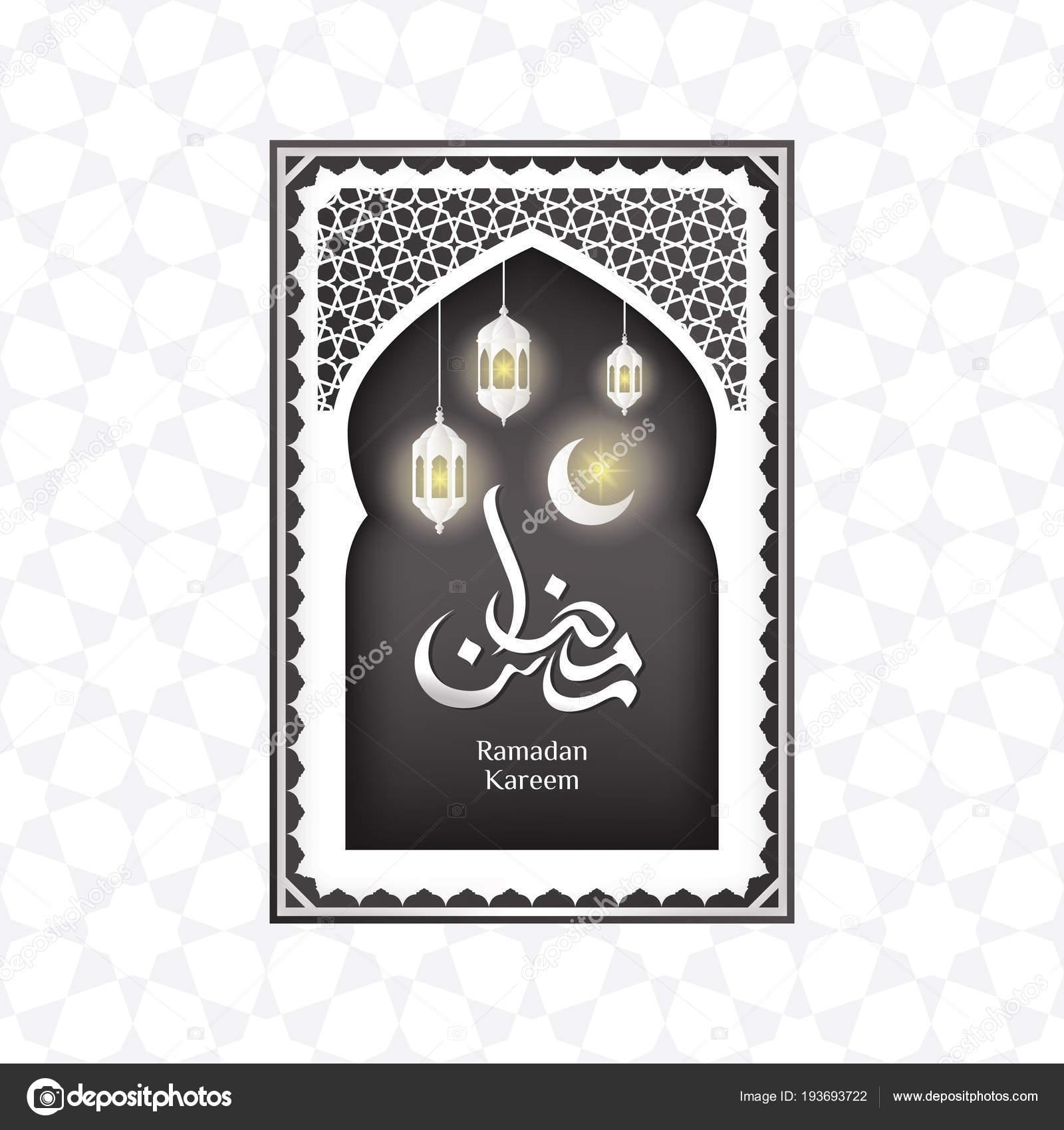 Ramadan greeting card crescent mosque window arabic ornament stock ramadan greeting card with crescent in mosque window and arabic ornament vector by irfanfirdaus19yahoo m4hsunfo