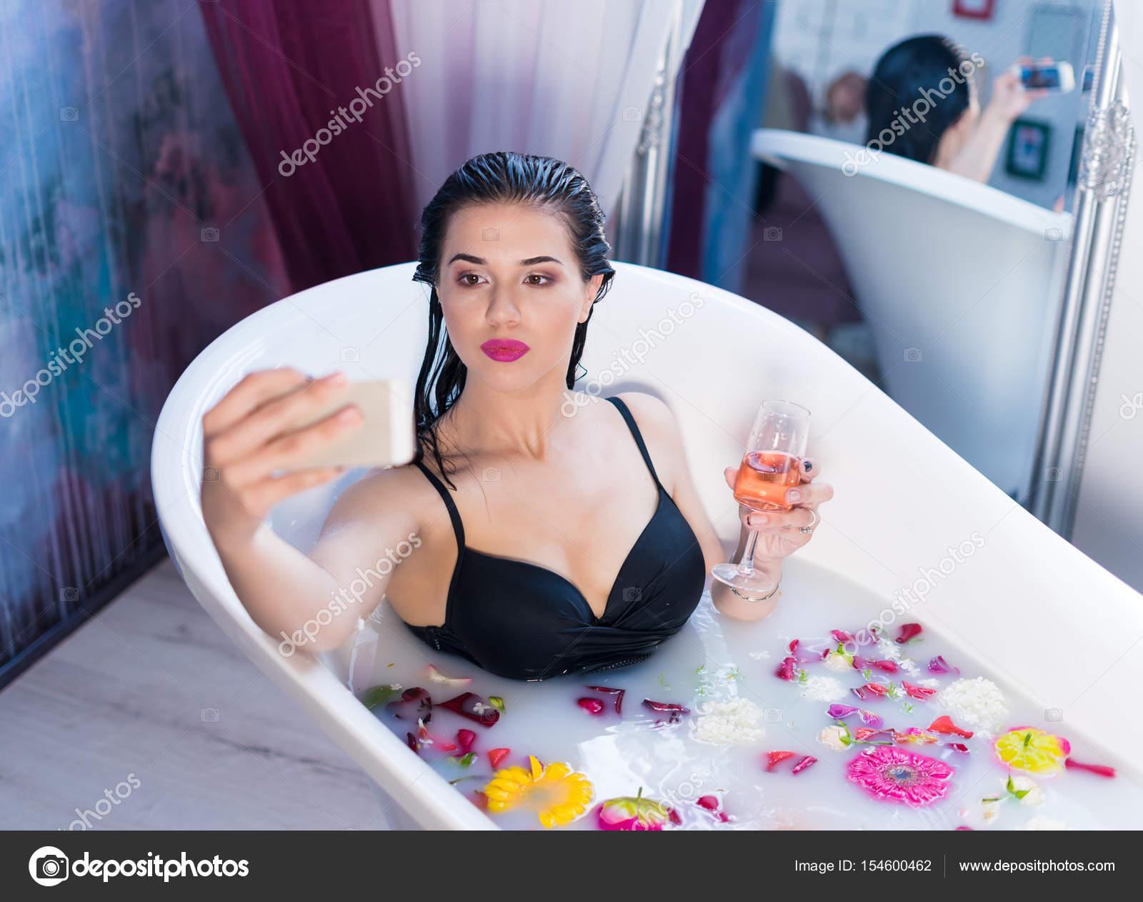 Drunk mature bath