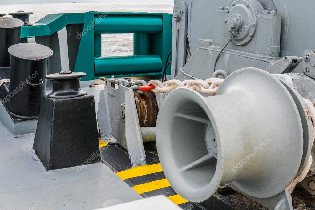 mooring equipment of ship. Empty winch.