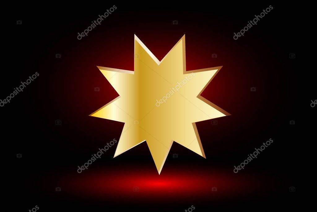 Bahai-Symbol, Bahá \' í Symbol auf rotem Grund — Stockvektor © Danler ...