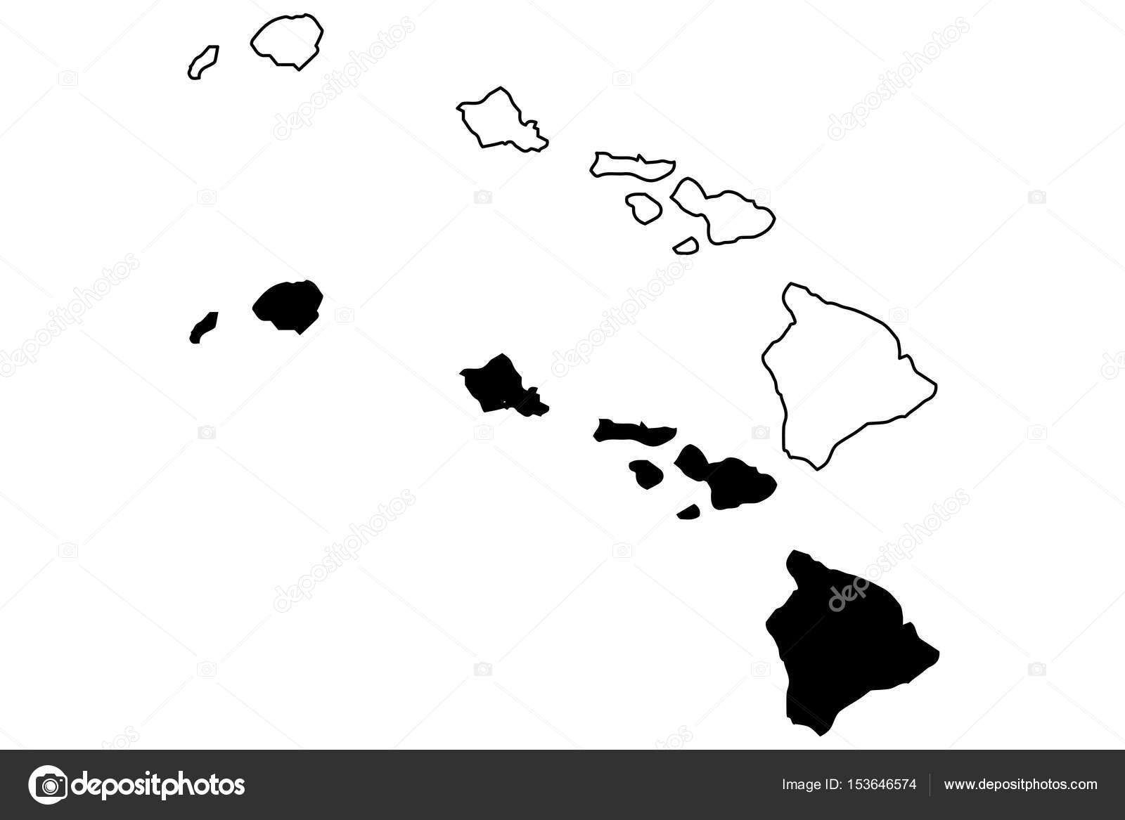 Hawaii Map Vector Stock Vector C Danler 153646574