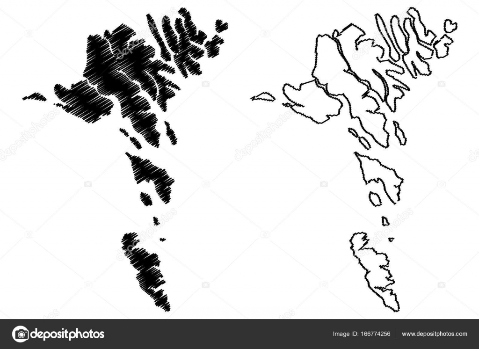 Färöer Inseln Karte.Färöer Inseln Karte Vektor Stockvektor Danler 166774256