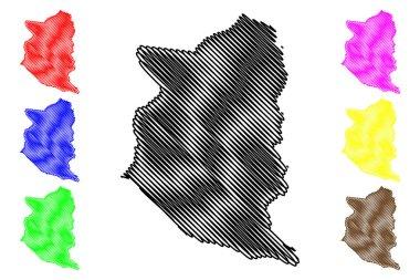 San Jose Department (Departments of Uruguay, Oriental Republic of Uruguay) map vector illustration, scribble sketch San Jose ma