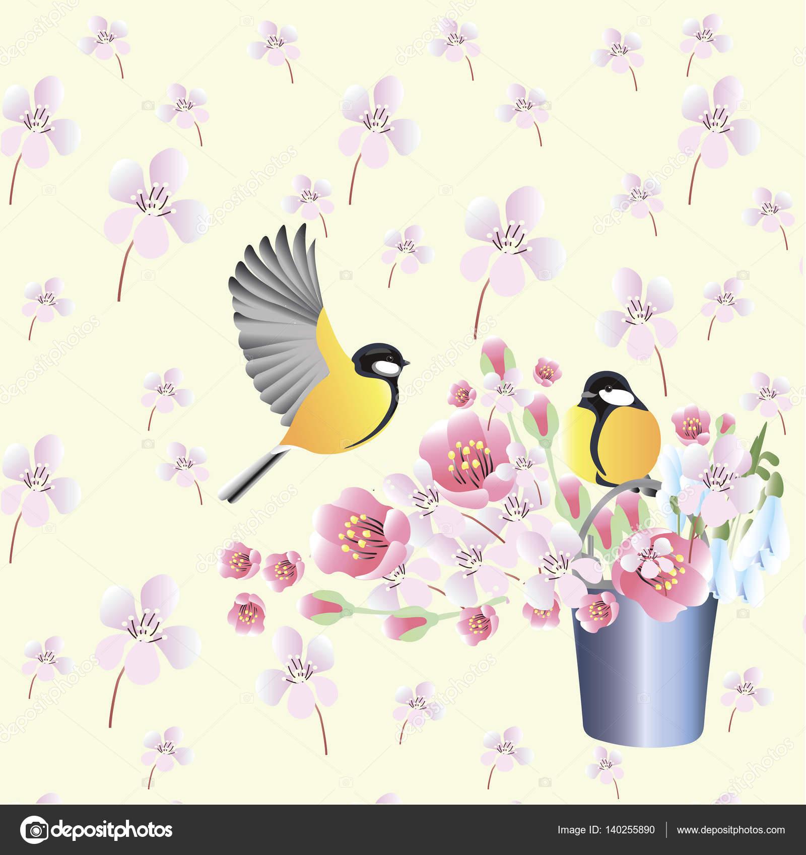 Wallpaper With Birds Spring Wallpaper With Birdsvector Background Stock Vector