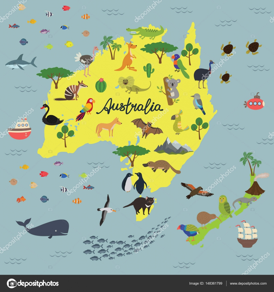 Map of animal kingdom of australia and new zealand stock vector australia vector map drawn map of australian continent with lettering animals of australia and new zealand vector by nadja77tut sciox Images