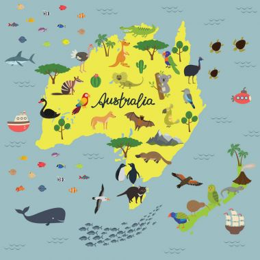 map of animal Kingdom of Australia and new Zealand
