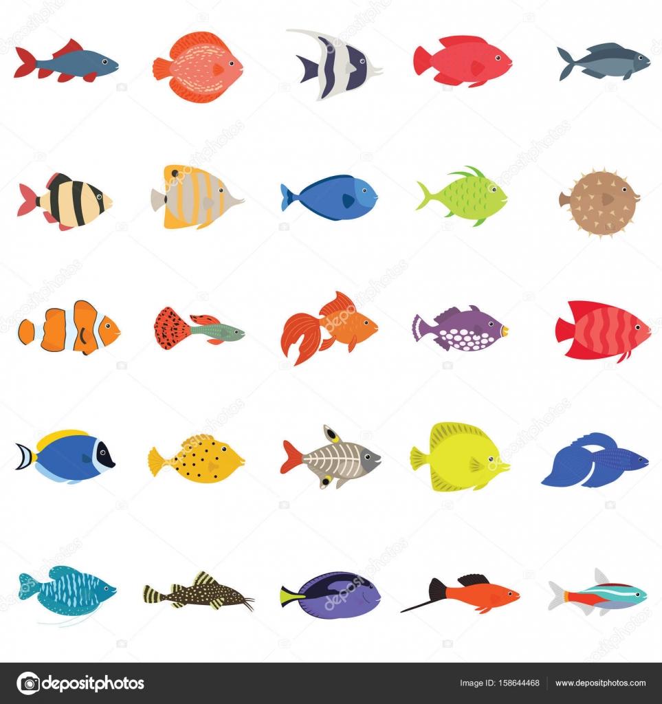 かわいい魚ベクトル イラスト アイコン セット。熱帯魚、海水魚、観賞魚