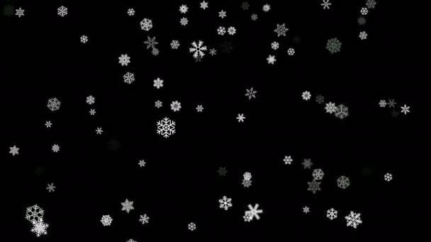 Hópelyhek részecskék bukott le a fekete képernyő