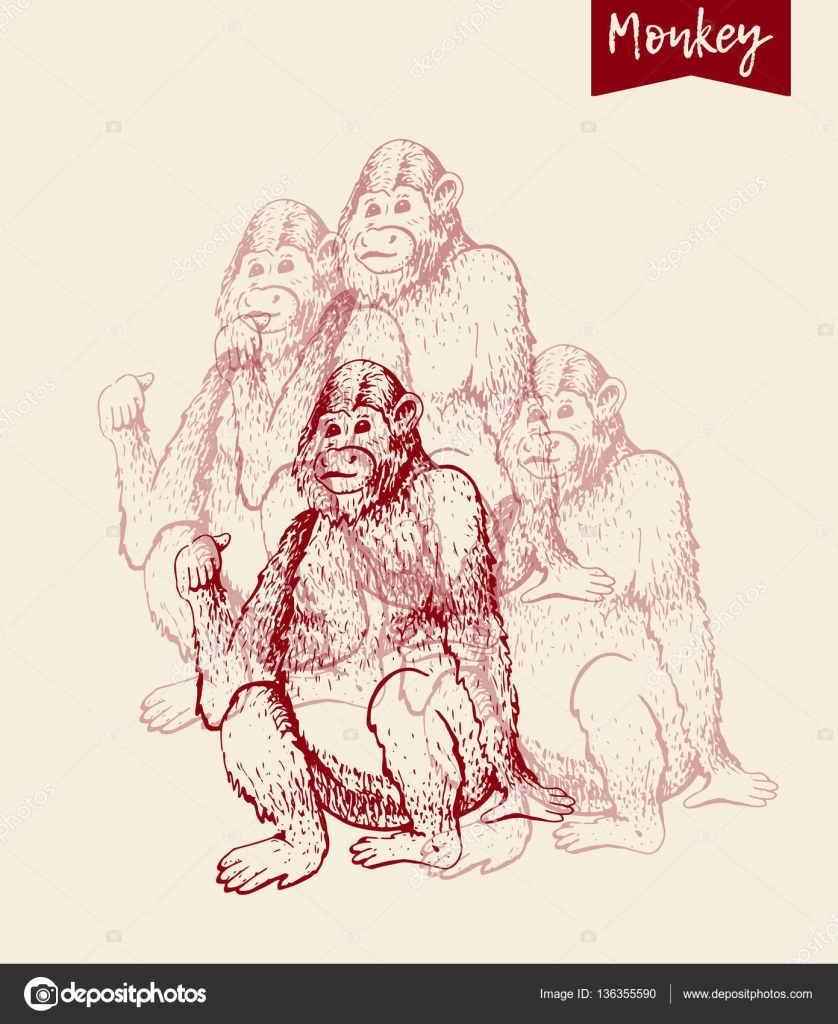 Hand drawn sketch of young orangutan smile monkey is sitting on its ass and finger is pointing back goodbye 2016 vintage engraving style