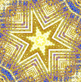 Fotografie Regular star ornament yellow white blue purple centered