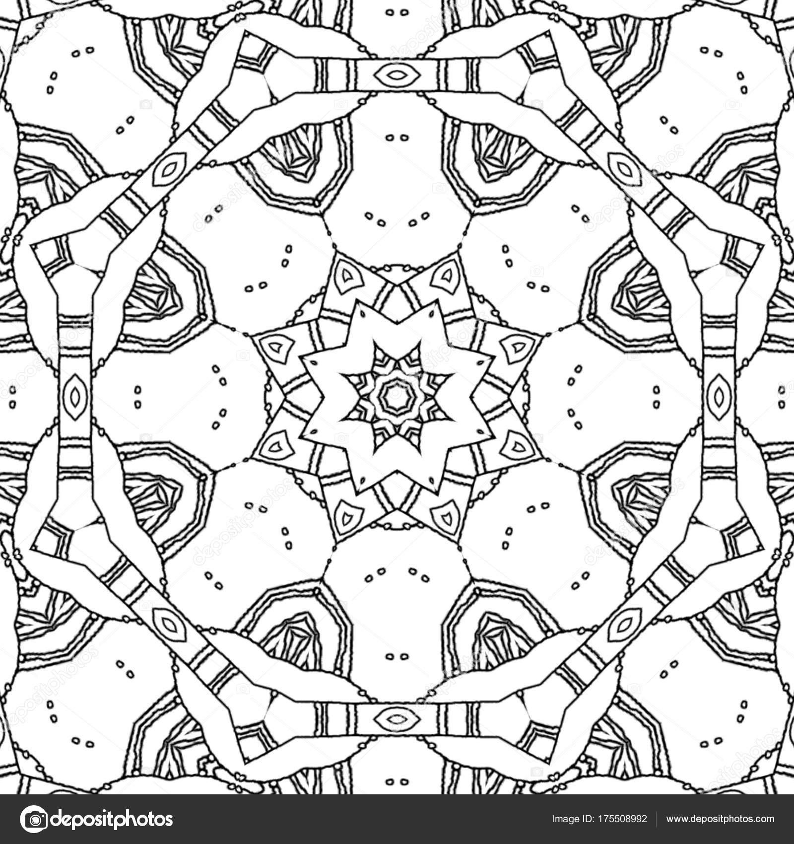 Malvorlagen Zeichnung Abstrakt Monochrome Mandala Mit Stern Ornament ...