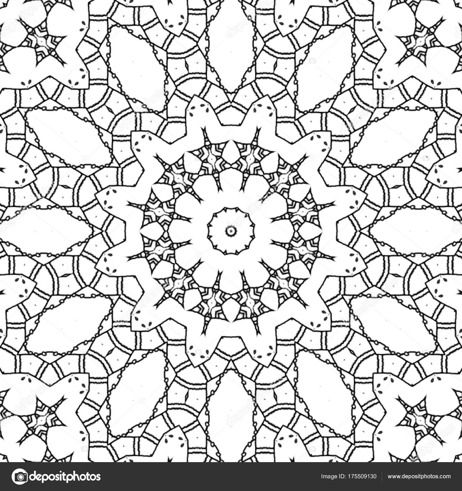 Malvorlagen Zeichnung Abstrakt Monochrome Mandala Mit Runde Sterne ...