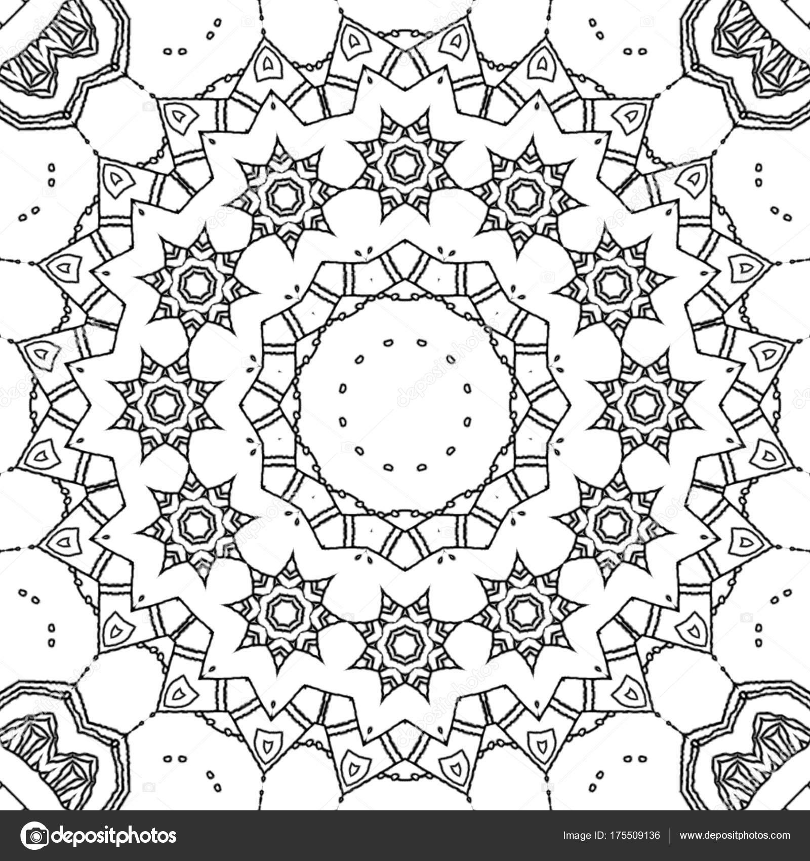 Malvorlagen Zeichnung Abstrakt Monochrome Mandala Ornament Mit ...