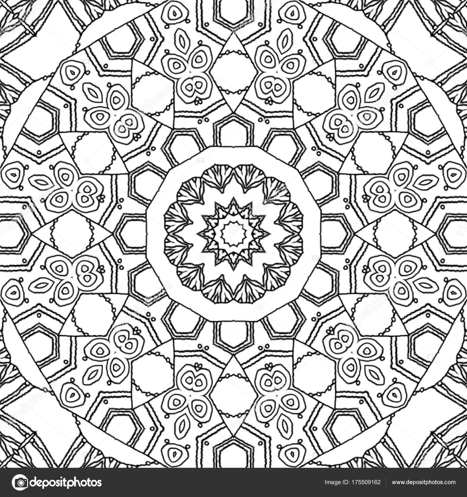Abstract coloring page drawing monochrome mandala ornament centered star different stock image