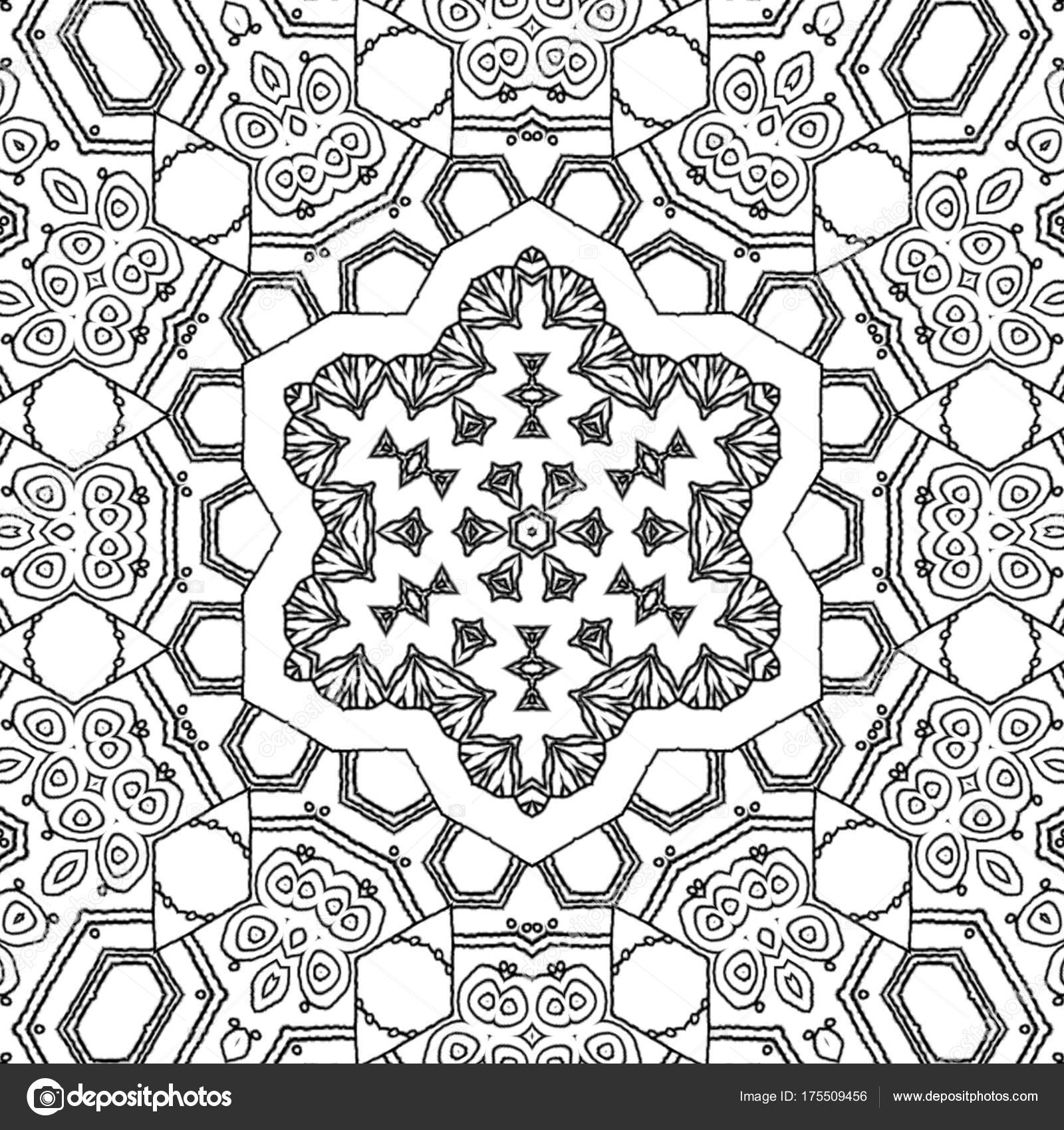 Abstract Coloring Page Drawing Monochrome Mandala Star Ornament