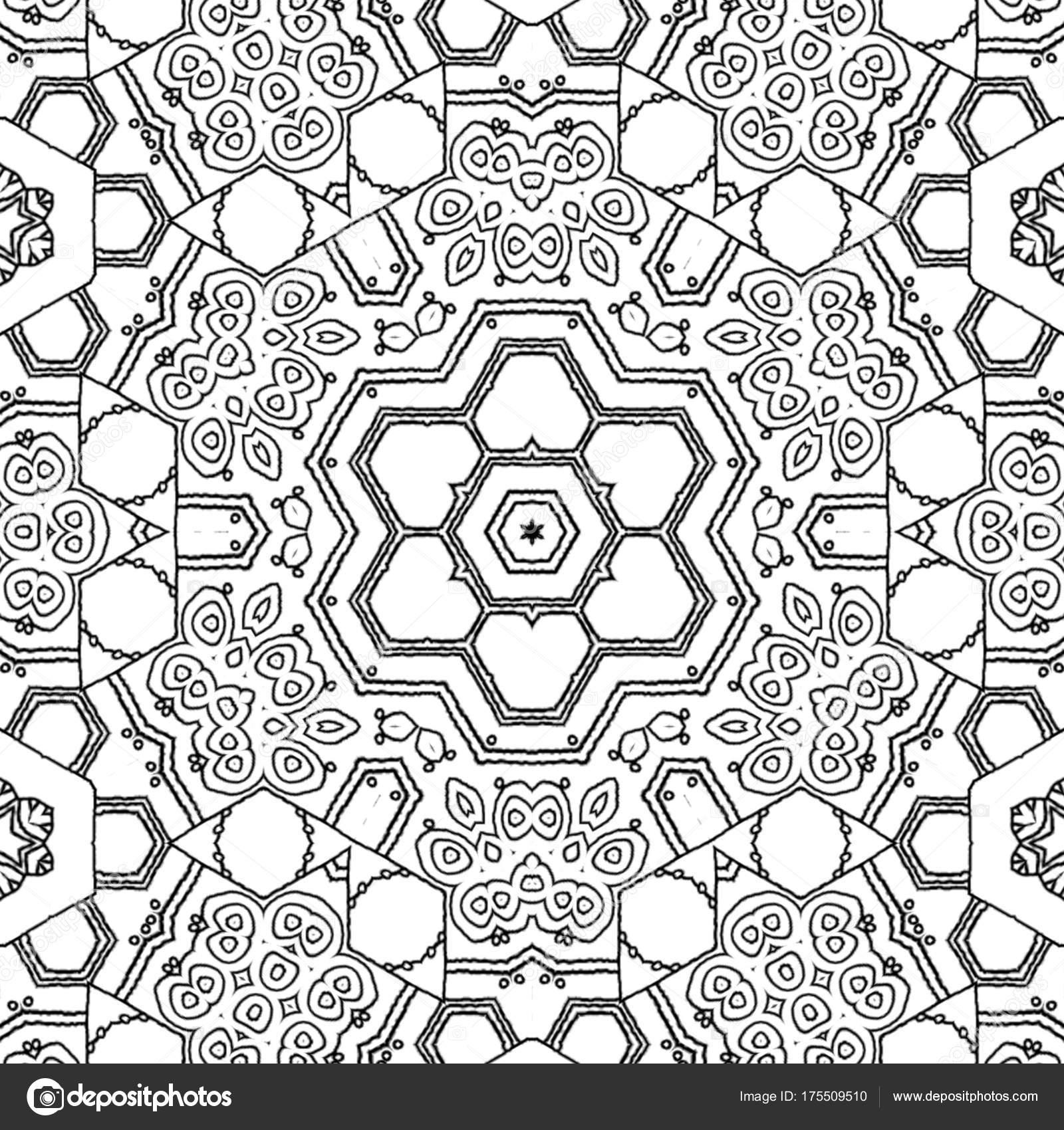 Malvorlagen Zeichnung Abstrakt Monochrome Mandala Sechseck Ornament ...