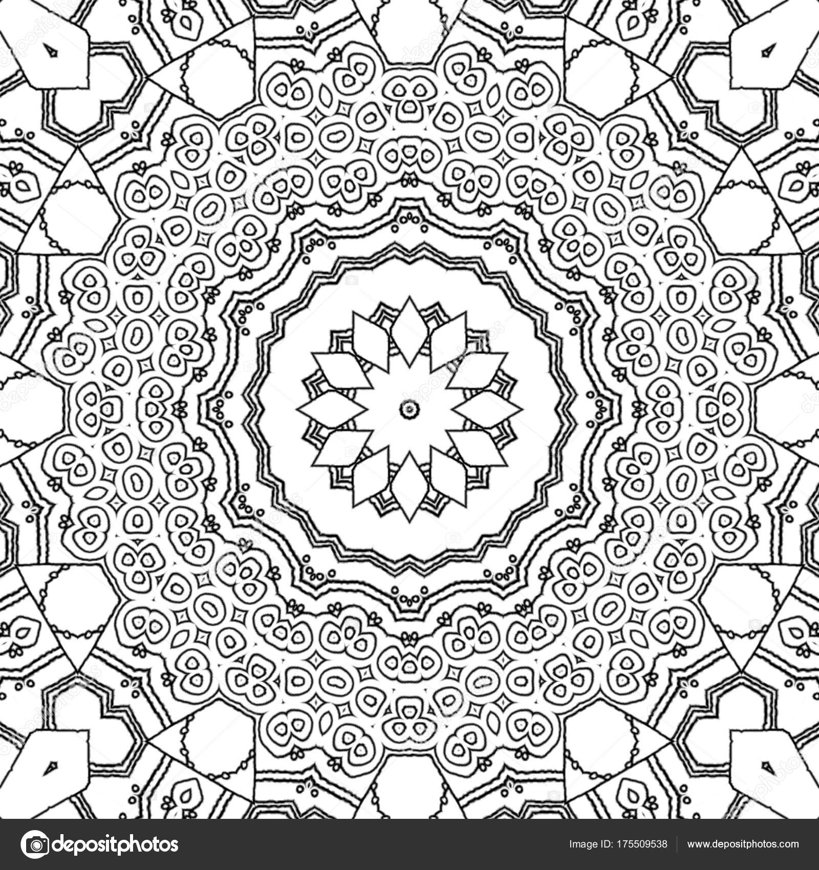 Abstract Coloring Page Drawing Monochrome Mandala Ornament Ornate ...