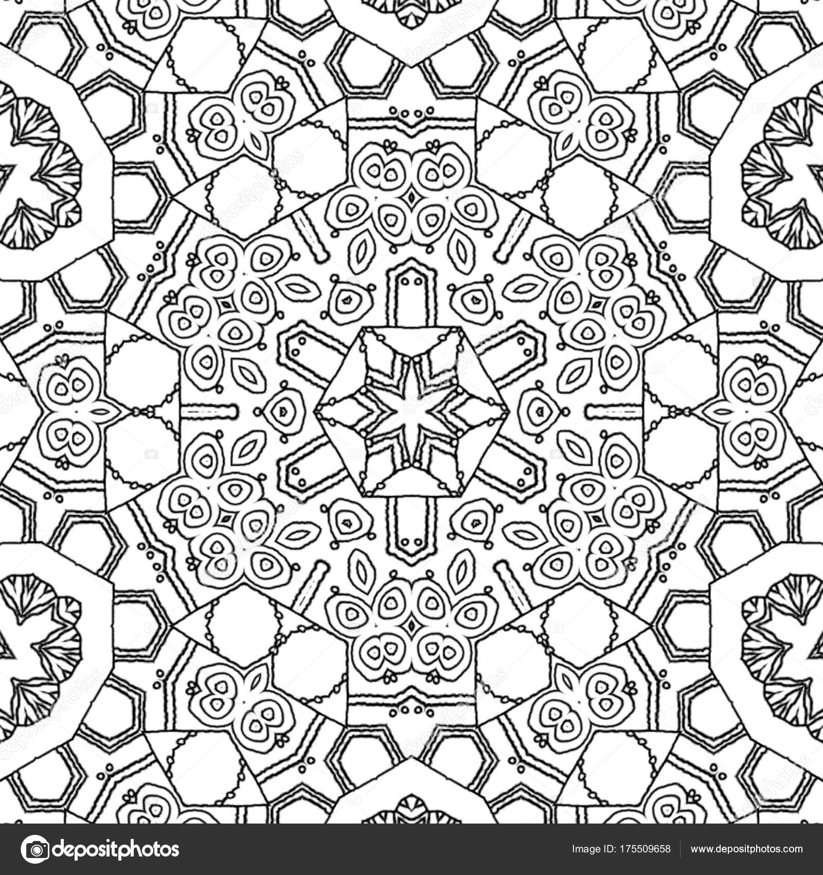 Abstract Coloring Page Drawing Monochrome Mandala Ornament Centered