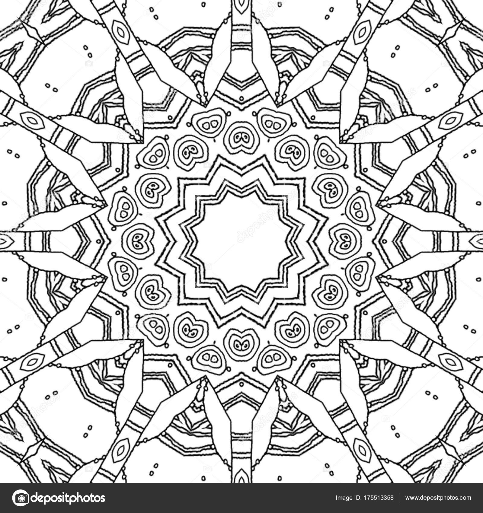 Kleurplaten Ster Mandala.Abstract Kleurplaat Pagina Tekenen Monochroom Mandala Met Ster