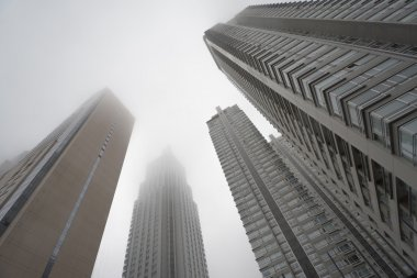 "Картина, постер, плакат, фотообои ""Downtown skyscrapers under the fog skyline"", артикул 125762354"