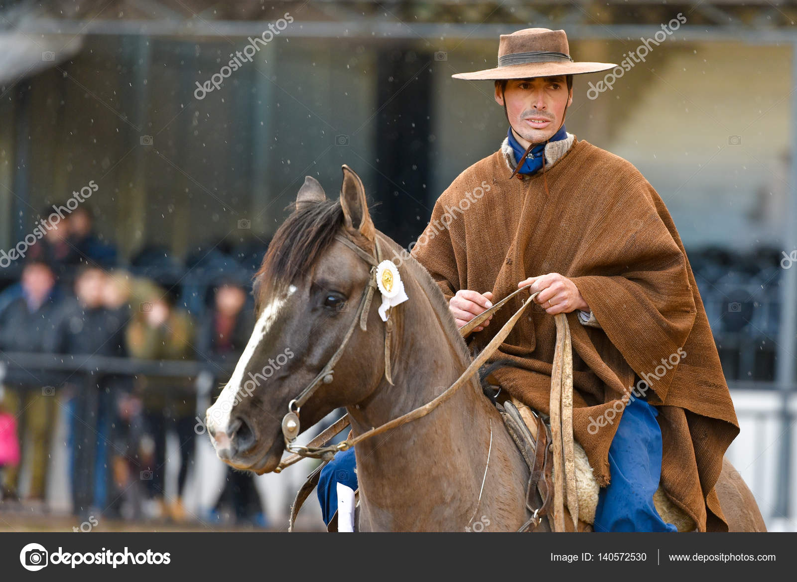 Buenos Aires Argentina Jul   A Gaucho Cowboy Riding A Horse During A Show At The Rural Exhibition Photo By Anvmedia