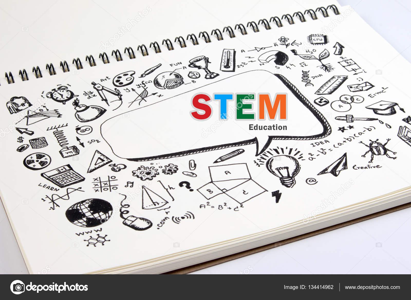 Doodle Stem Bildung Hintergrund. Stamm - Wissenschaft, Technik und ...