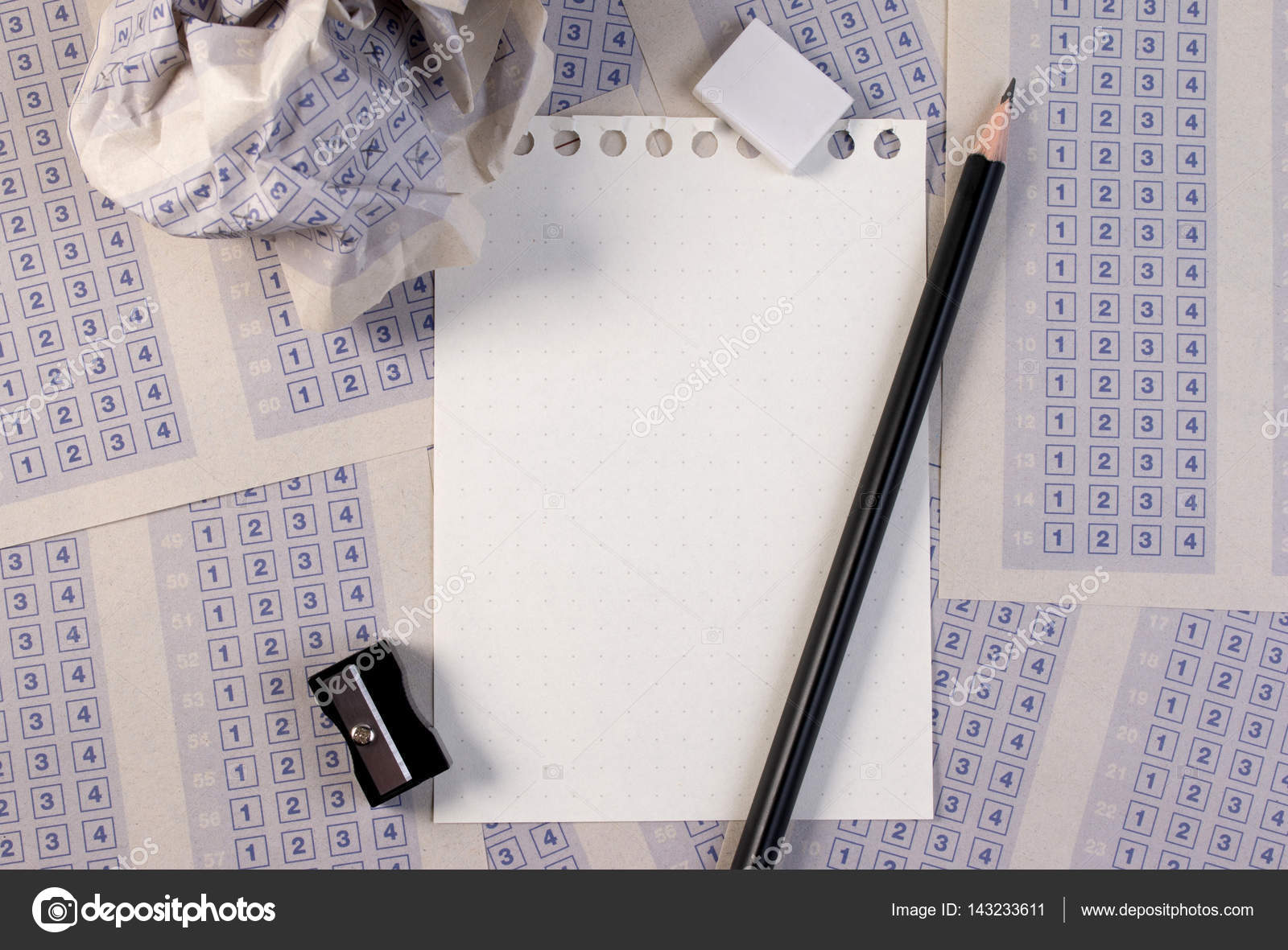 Filling Out In Answer Sheet With Pencil Sharpener And Paper Reduction Cross The Right Box Blank Set Of Multiple Choice