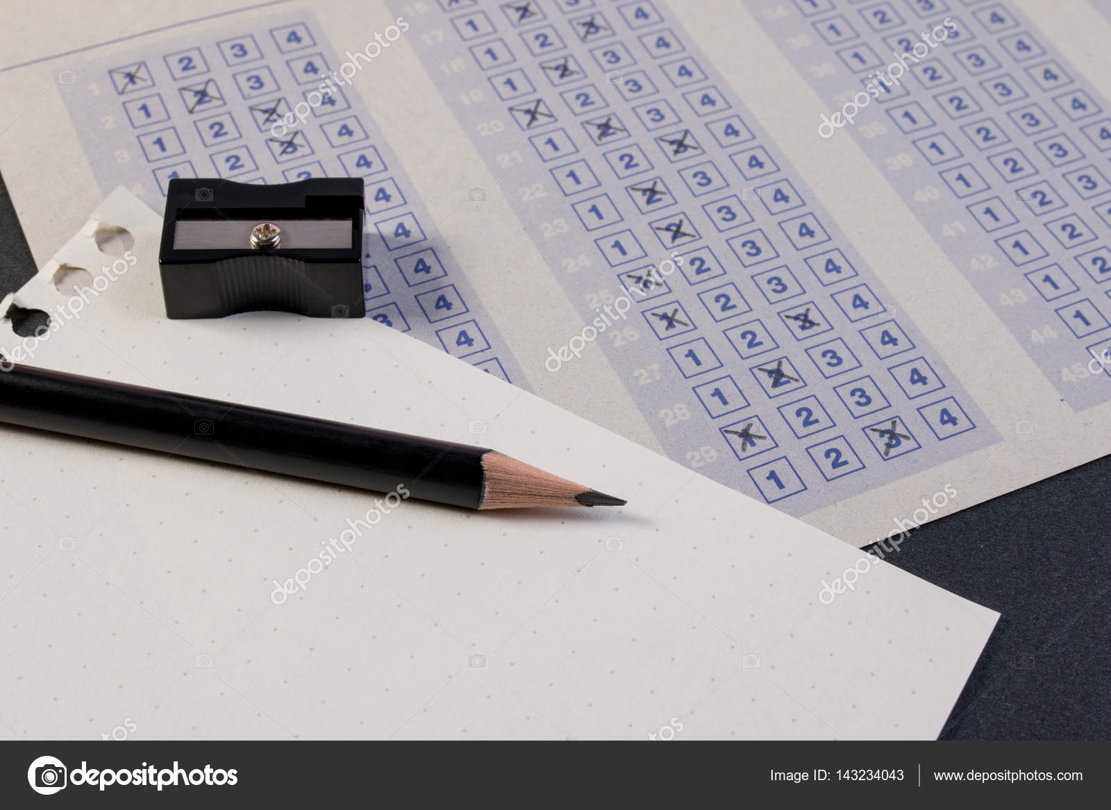 Filling Out In Answer Sheet With Pencil Sharpener And Paper Reduction Cross The Right Box Blank Vintage Classic Multiple Choice
