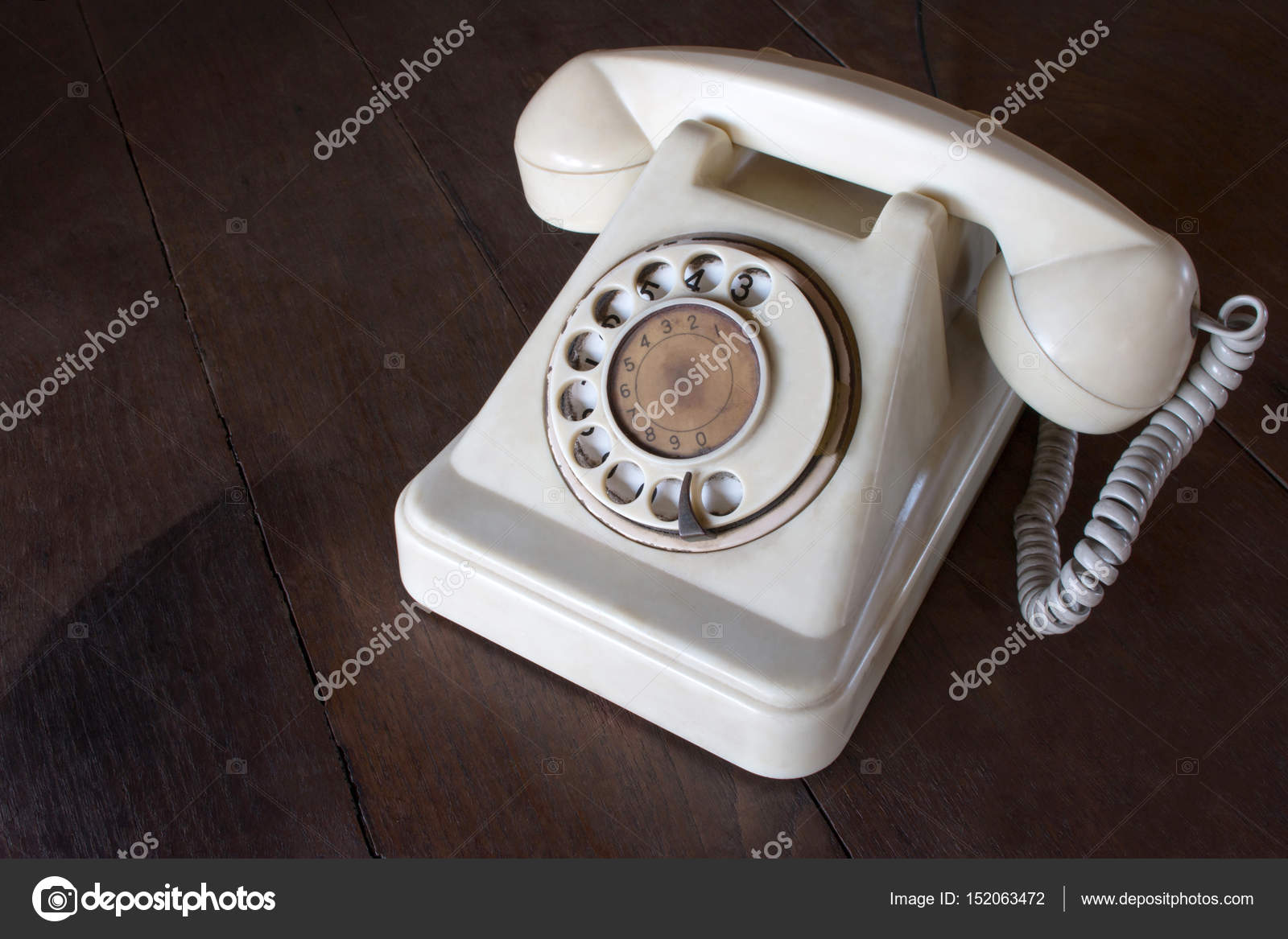 Old White Phone With Dust Circle Dial Pad And Scratches On Wooden Retro Desk Vintage Telephone Concept Photo By Wittayayut