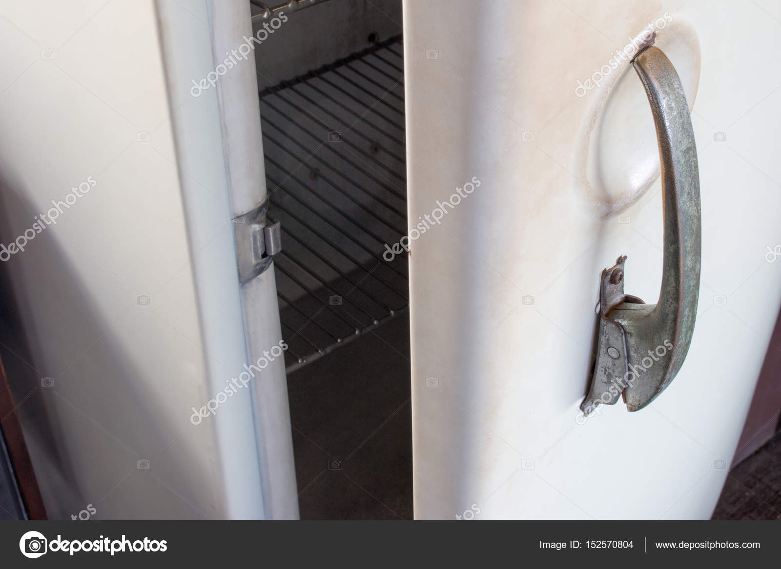 Old White Vintage Refrigerator Door Handle With Copy Space For Text. U2014  Stock Photo