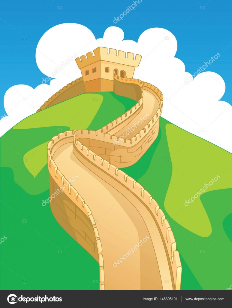 Great Wall in China, landmarks. Vector illustration — Stock Vector ...