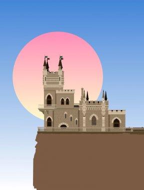 The castle Swallow's Nest near Yalta, Ukraine - Russia, vector illustration