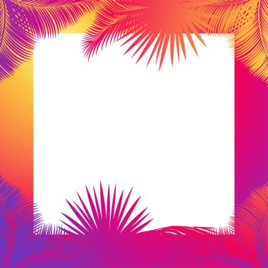 Tropical palm tree leaves frame. Jungle palm tree. Sukkot palm tree leaves frame. Palm leaf frame. Palm branch leaves background. Tropical palm leaf frame with white space for text. Jungle background green leaves. Vector illustration. Summer poster.