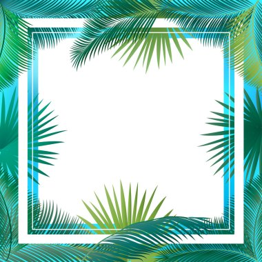 Tropical palm tree leaves frame. Sukkot palm tree leaves frame. Palm leaf frame. Palm branch leaves background. Tropical palm leaf frame with white space for text. Jungle background green leaves. Vector illustration. Summer poster.