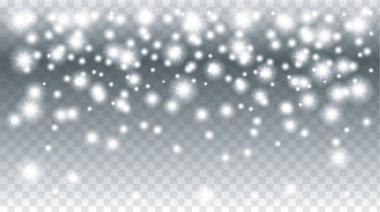 Falling snow transparent Christmas Holiday background. Falling Snowflakes. Falling sparkles. Light effect. Invitation, greeting cards winter background. Winter sale. Night club advertising.