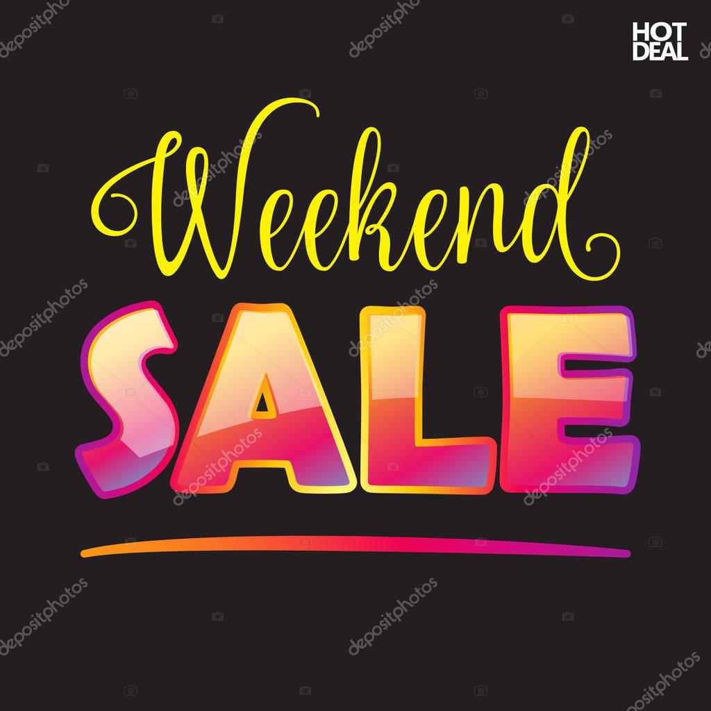 Weekend Discount: Sale. Hot Deal Web Banner. Weekend Sale Discount Design