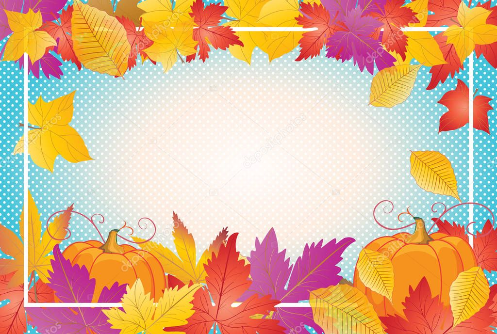 Fall leaves Thanksgiving Retro background. Fall leaves and pumpkin ...