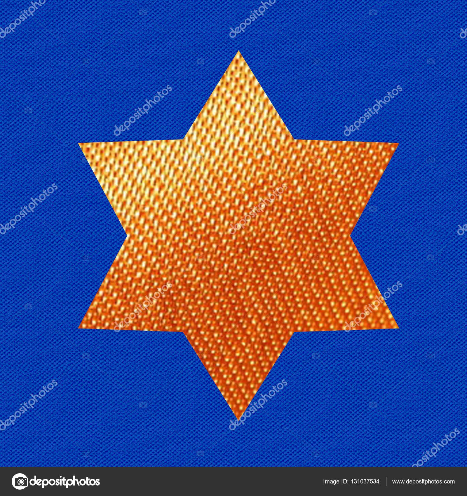 Star of David on blue background. David stars banner. Jewish Holiday stars. Gold stars wallpaper. Israel symbol. Fabric texture. Hanukkah Jewish Holiday ...