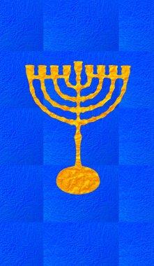 Hanukkah Festival of Lights. Jewish Holiday Hanukkah Menorah (traditional Candelabra) for Hanukkah candles. Hanukkah Menorah festive background. Digital illustration. Gold Menorah. Hanukkah wallpaper