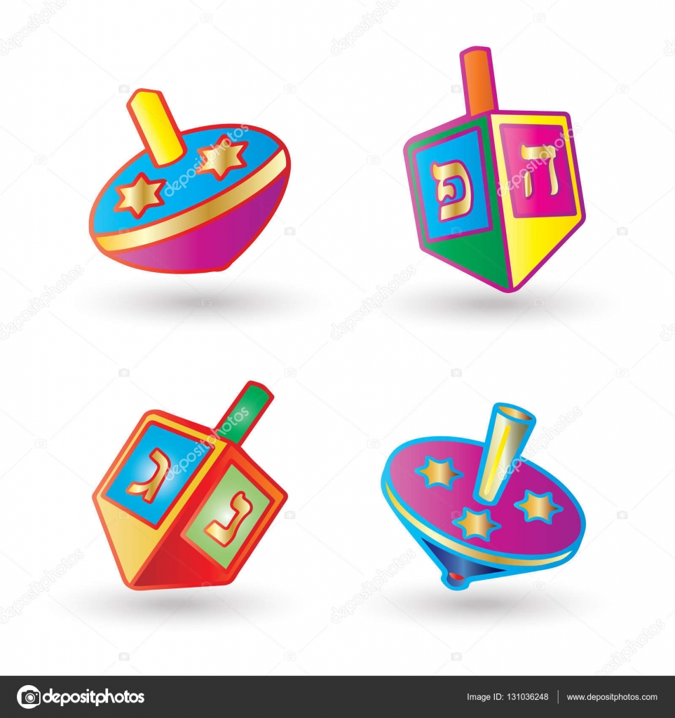 Hanukkah festival of lights spinning top set dreidel a small dreidel a small four sided spinning top with a hebrew letter on each side used by the jews spinning isolated on white background symbol of hanukkah buycottarizona Images