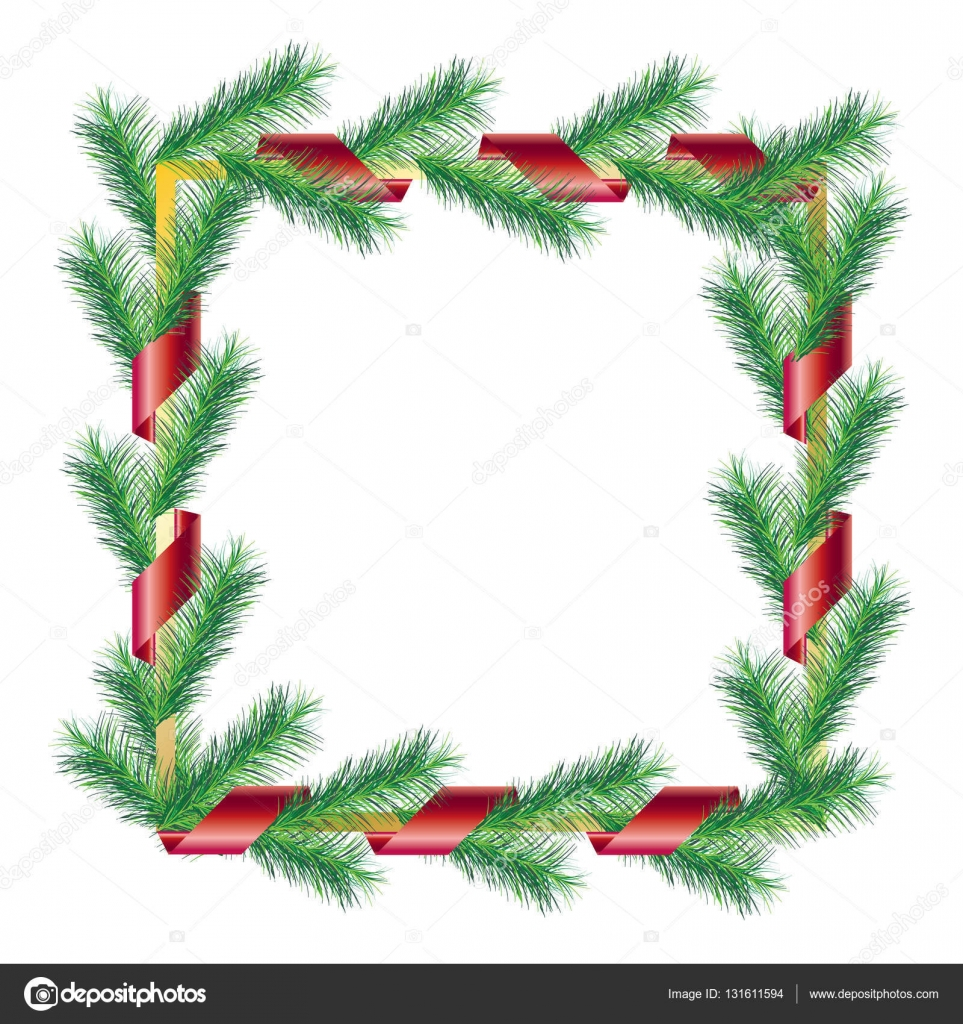 christmas tree ornament christmas green branches tree red ribbon isolated on white vector merry christmas new year holiday border fir tree