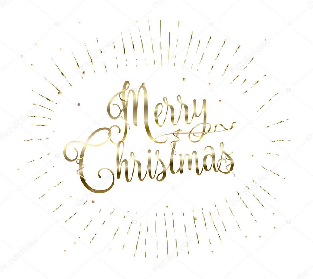 Merry Christmas and Happy New Year Lettering greeting card with glitter fall snow, sparkle, gold snowflakes, confetti. 2017 Christmas decoration light effect. Vector card. Winter Holiday frame. Vintage. Luxury poster. Calligraphy, Gold Lettering.