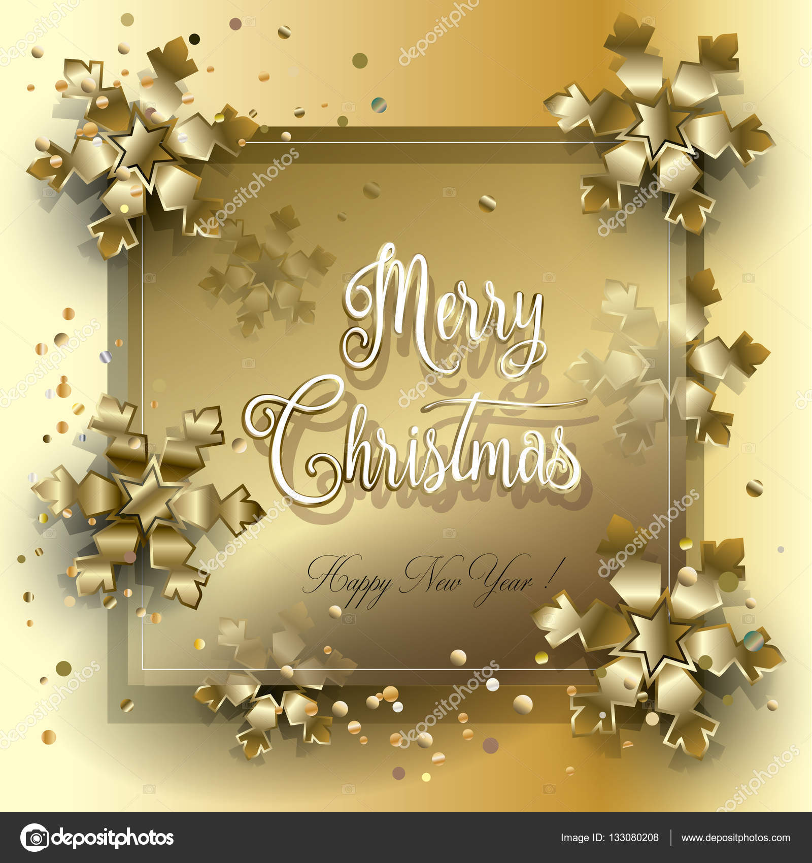 merry christmas and happy new year greeting card with glitter balls fir tree fall snow sparkle gold snowflakes confetti