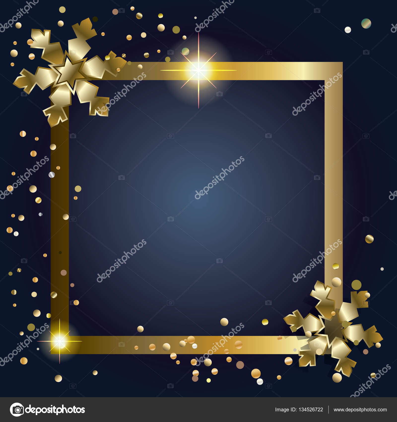 frame merry christmas and happy new year decoration greeting card border with gold snowflakes glitter fall snow confetti and decorative elements